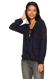 Silver Jeans Co. Women's Susanna Lace-up Wrap Shirt  L