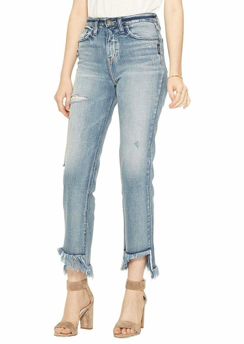 Silver Jeans Co. Women's Vintage Ankle Straight with Frayed Hem Light wash Indigo