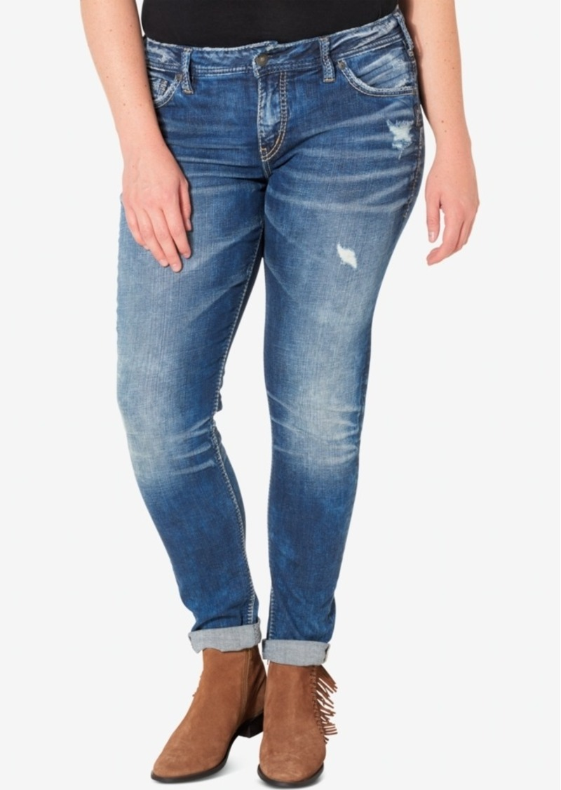 99024faf857 Co. Plus Size Indigo Wash Ripped Girlfriend Jeans. Silver Jeans