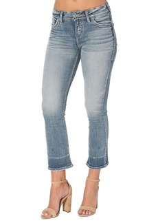 Silver Jeans Women's Aiko Demi Straight-fit Mid-Rise Ankle Kick Crop-Leg Jean