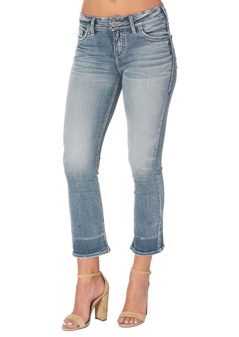 Silver Jeans Women's Aiko Demi Straight-fit Mid-Rise Ankle Kick Crop-Leg Jean