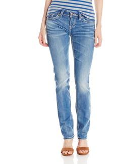 Silver Jeans Women's Aiko Medium Wash Mid Rise Straight Leg Jean