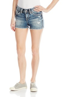 Silver Jeans Women's Aiko Midrise Rise Denim Short with Raw Edge