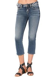 Silver Jeans Women's Avery Ultra Curvy-Fit High-Rise Kick Crop Medium Wash Jean