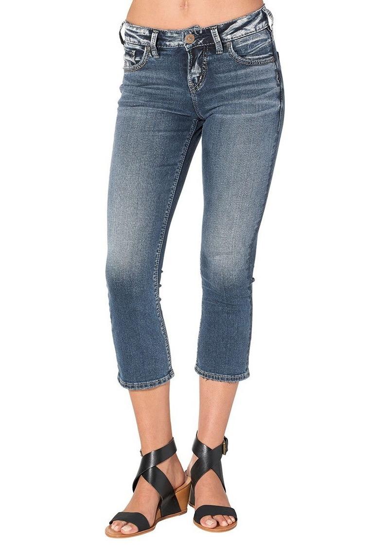 Silver Jeans Women's Avery Ultra Curvy-fit High-Rise Kick Crop Medium Wash Jean Dark