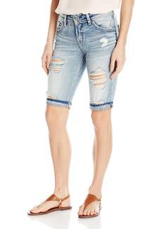 Silver Jeans Women's Co Suki Curvy Fit Mid Rise Bermuda Shorts