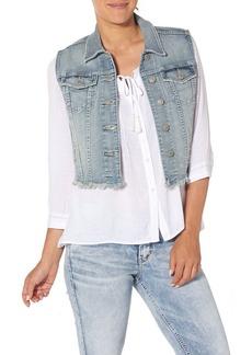 Silver Jeans Women's Cropped Denim Vest with Fray Hem  L