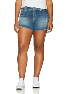 Silver Jeans Women's Plus Size Aiko Mid-Rise Cutoff Shorts  14