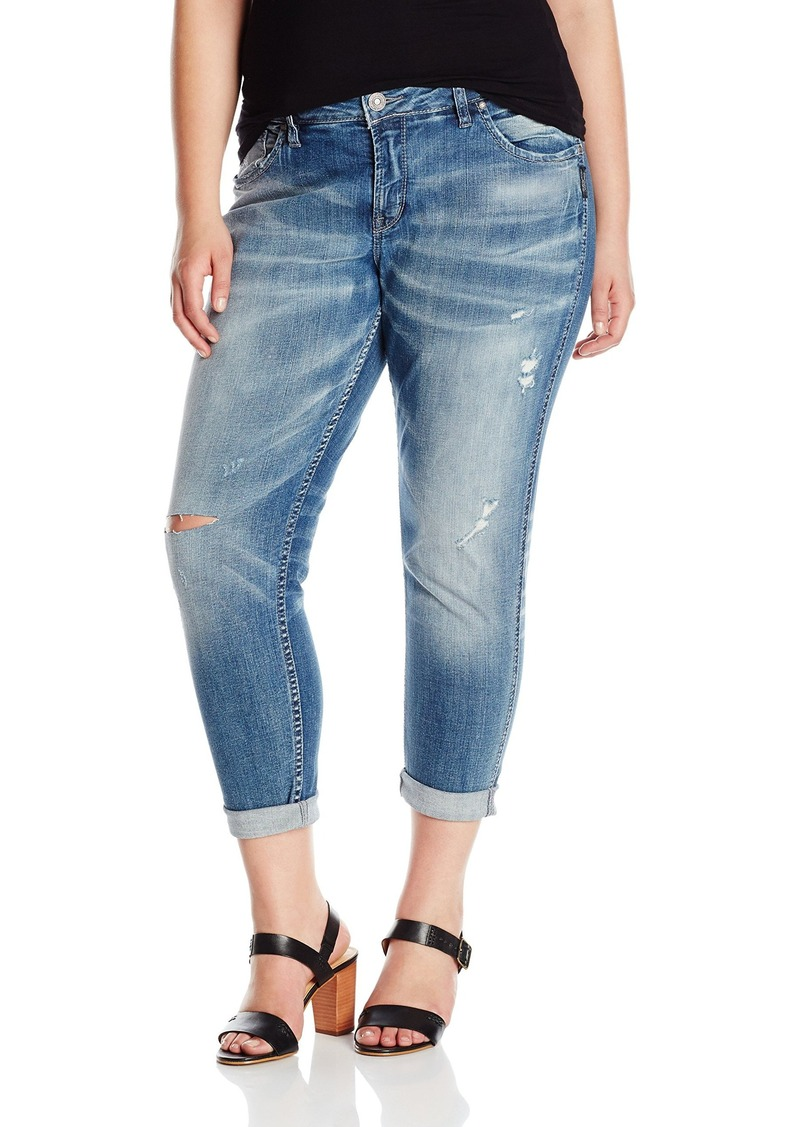 Silver Jeans Women's Plus Size Destructed Boyfriend