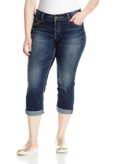 Silver Jeans Co. Women's Plus Size Elyse Relaxed Fit Mid Rise Capri