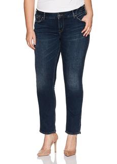 Silver Jeans Women's Plus Size Elyse Mid-Rise Straight Leg Jeans  12x32