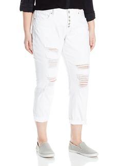 Silver Jeans Women's Plus Size Sam Boyfriend-Fit Mid-Rise Slim-Leg Dark Wash Jean  22