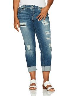 Silver Jeans Women's Plus Size Sam Mid-Rise Boyfriend Jeans with Destruction