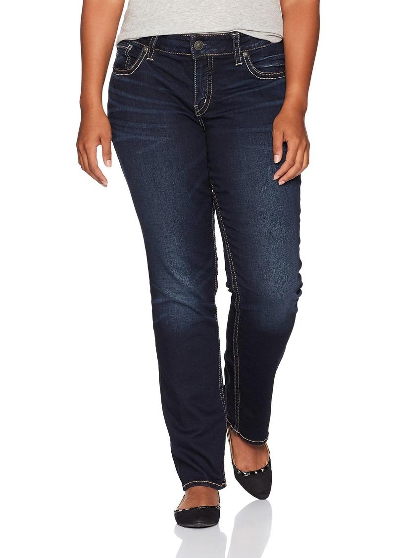 cf4881ea3d6f Silver Jeans Women's Plus Size Suki Curvy-Fit Mid-Rise Straight Dark Wash  Jean