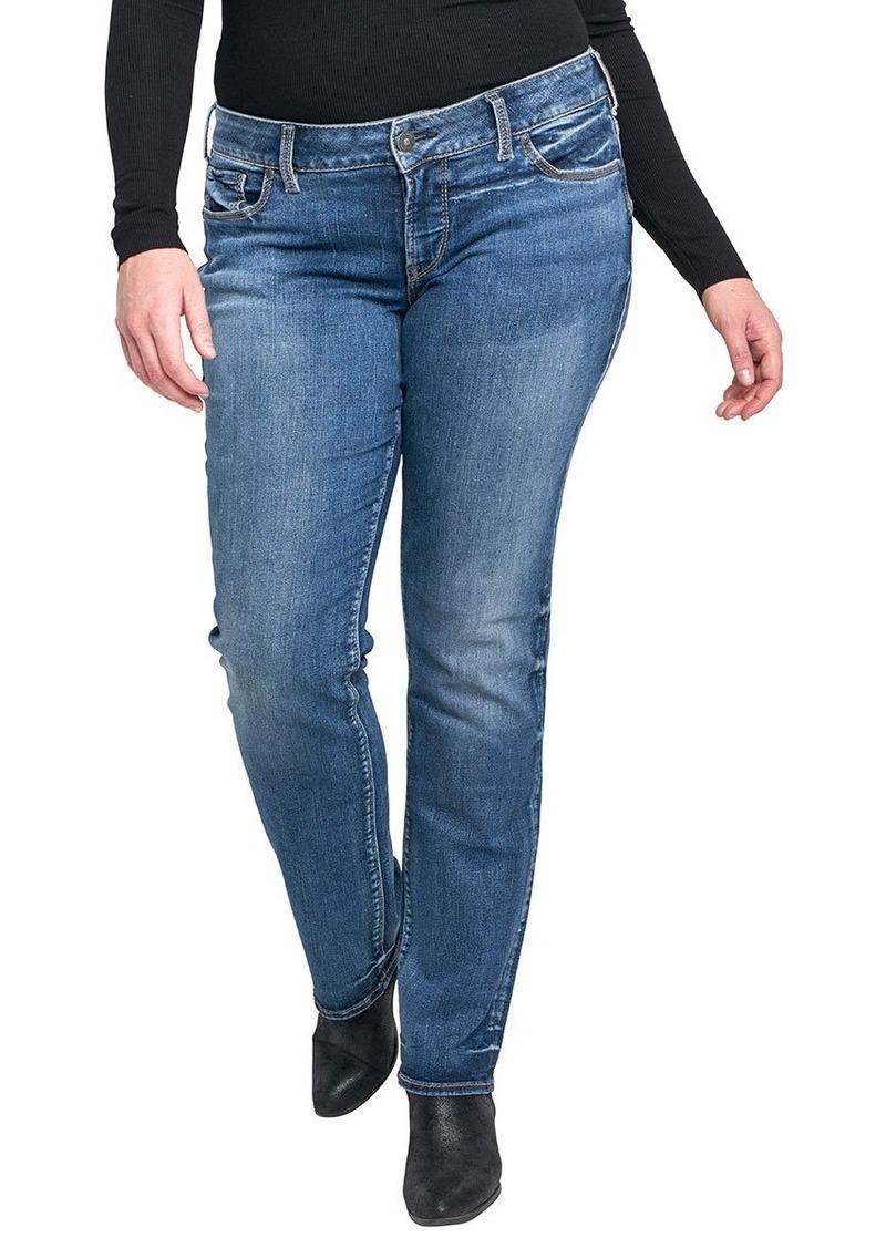 Silver Jeans Women's Plus Size Suki Curvy Fit Mid Rise Straight Leg Jeans Medium Indigo Wash-New