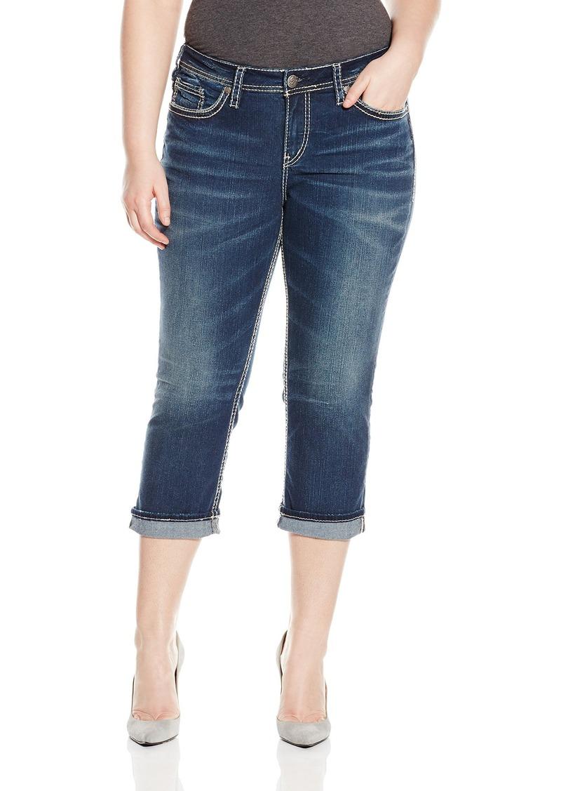 Silver Jeans Women's Plus-Size Suki Dark Wash Mid Capri Jean Rolled Cuff