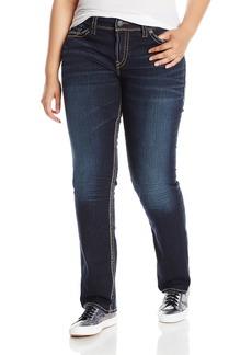 Silver Jeans Women's Plus-Size Suki Mid Rise Straight Leg Jean Indigo 14x32