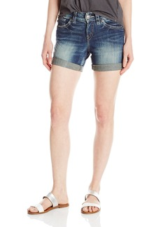 Silver Jeans Women's Suki Midrise Rise Rolled Cuff Dark Wash Denim Short