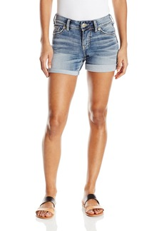 Silver Jeans Women's Suki Midrise Rise Rolled Cuff Light Wash Denim Short