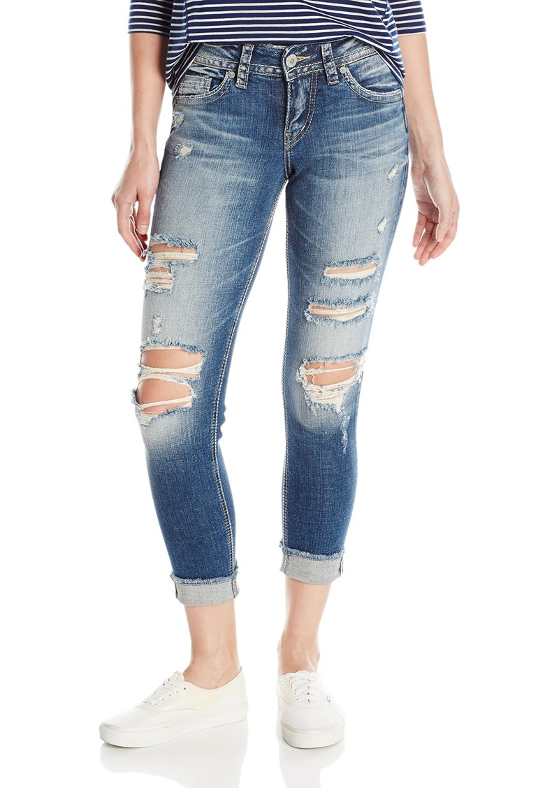 ae96fbf4 Silver Jeans Women's Suki Perfectly Curvy-Fit Mid-Rise Skinny Crop Jean
