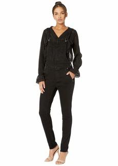 Silver Jeans Slim Leg High Stretch Overalls in Black L27185SBK578