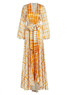 Silvia Tcherassi Plaid Long Sleeve Maxi Dress