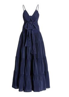 Silvia Tcherassi - Women's Evora Tie-Detailed Tiered Crepe Maxi Dress - Blue - Moda Operandi