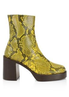 Simon Miller Raid Snakeskin-Embossed Leather Platform Ankle Boots