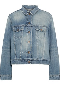 Simon Miller Woman Zola Distressed Denim Jacket Mid Denim
