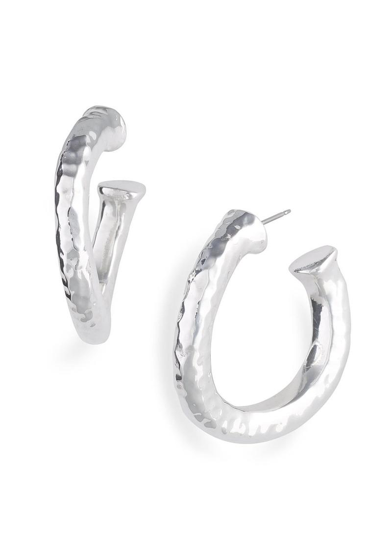 Simon Sebbag Concave Hammered Hoop Earrings
