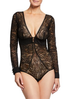 Simone Perele Afterwork Long-Sleeve Lace Bodysuit