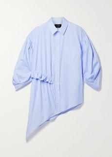 Simone Rocha Asymmetric Ruffled Pinstriped Cotton-poplin Shirt