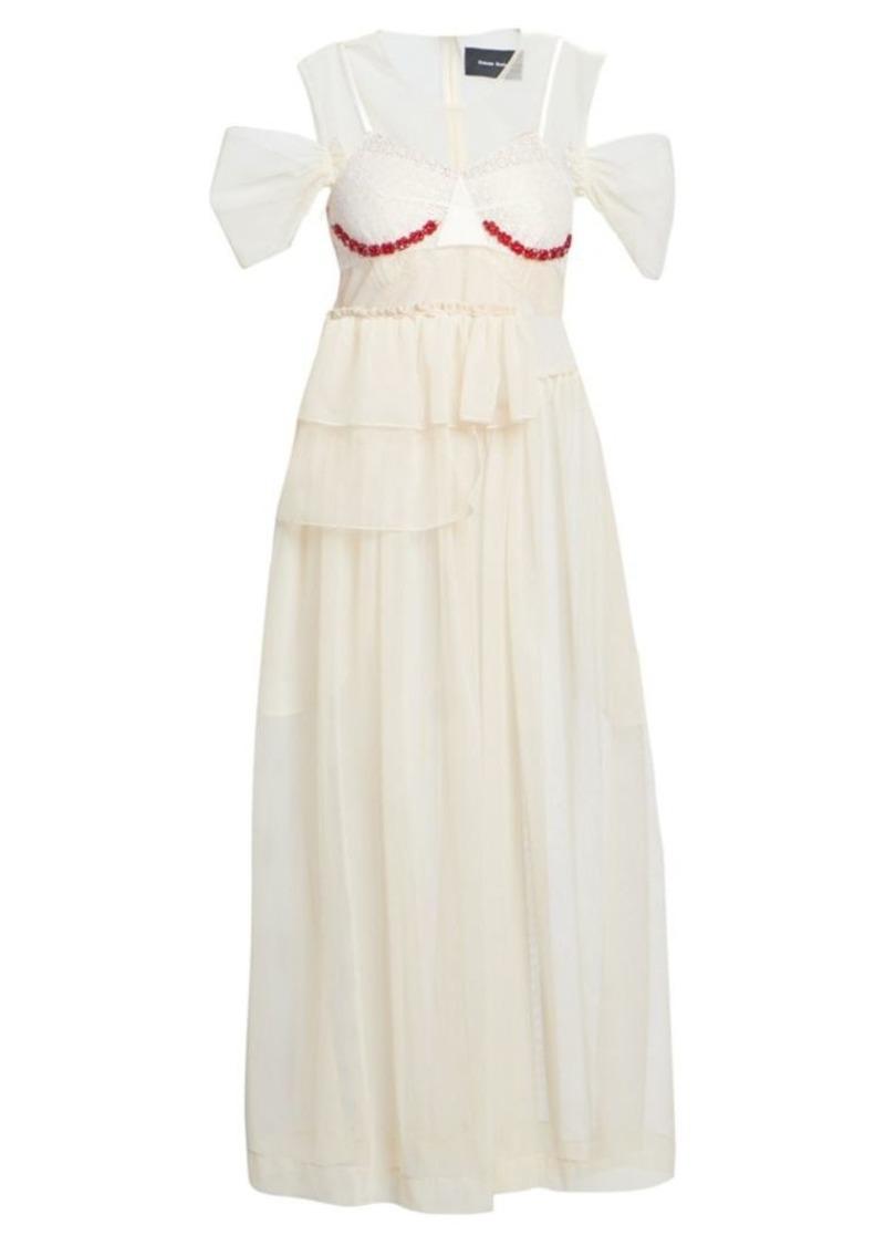Simone Rocha Beaded Bra Insert Tulle Midi Dress
