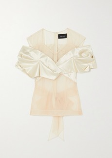 Simone Rocha Bow-detailed Tulle And Silk-satin Top