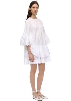 Simone Rocha Cotton Poplin Mini Dress W/lace Insert