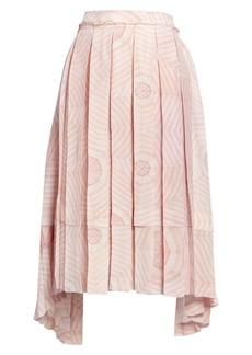 Simone Rocha Deconstructed Pleated Print Silk Skirt