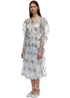 Simone Rocha Embroidered Organza Midi Dress