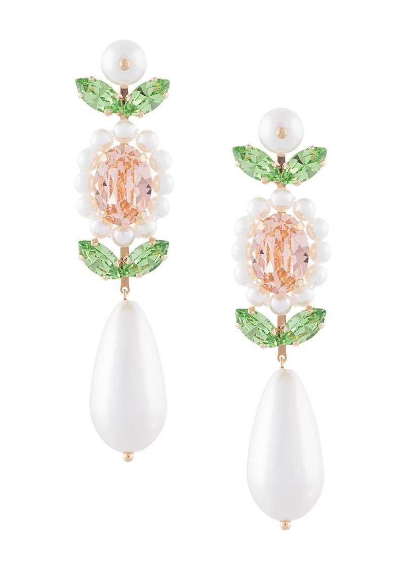 faux pearl crystal earrings