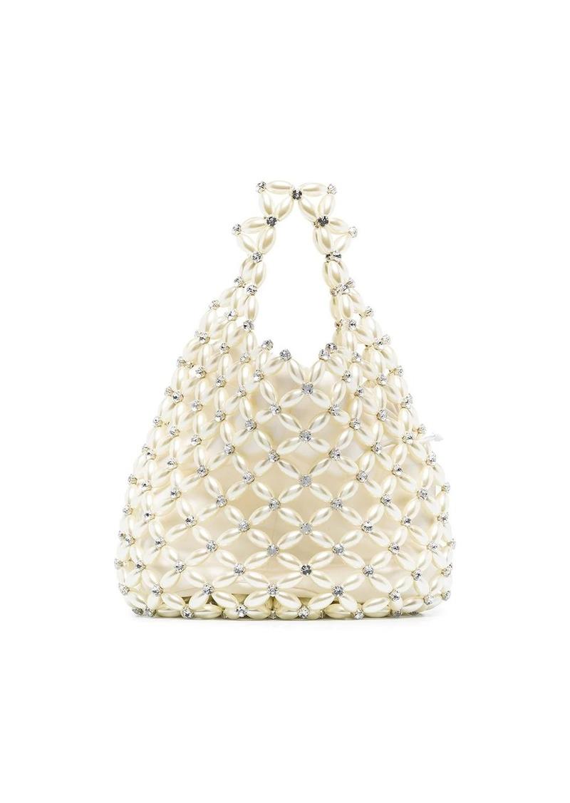 faux-pearl crystal embellished handbag