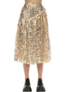 Simone Rocha Flared Sequin Grid Ruffle Midi Skirt