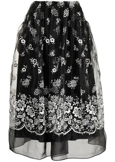 Simone Rocha floral-embroidered organza skirt