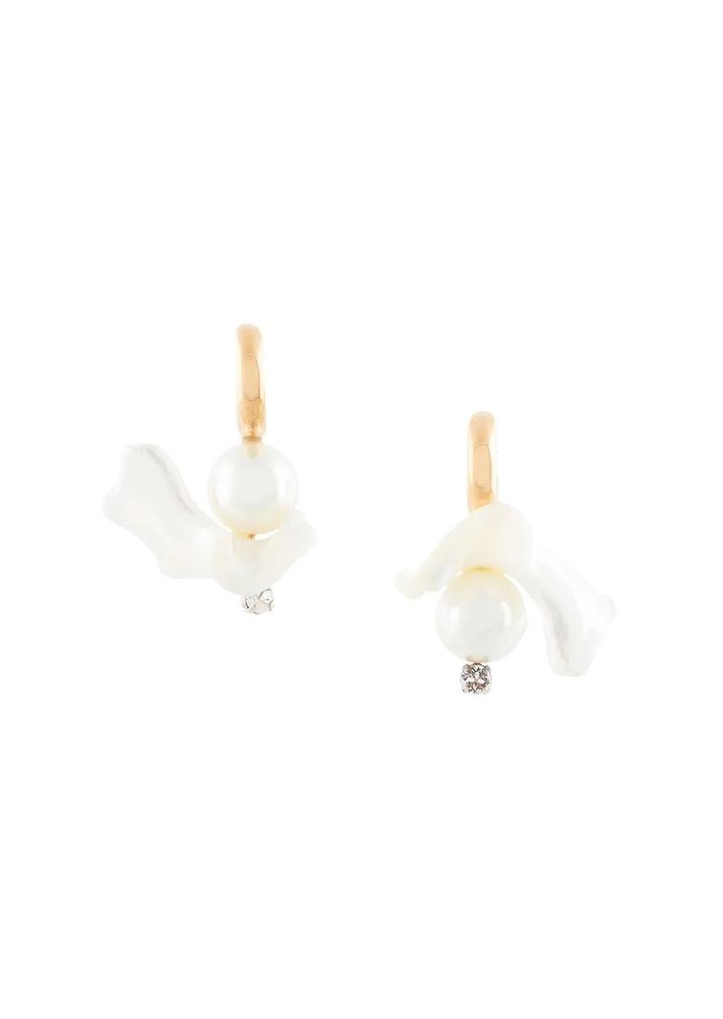 floral-motif small hoop earrings