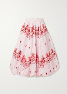Simone Rocha Gathered Embroidered Cotton-poplin Midi Skirt