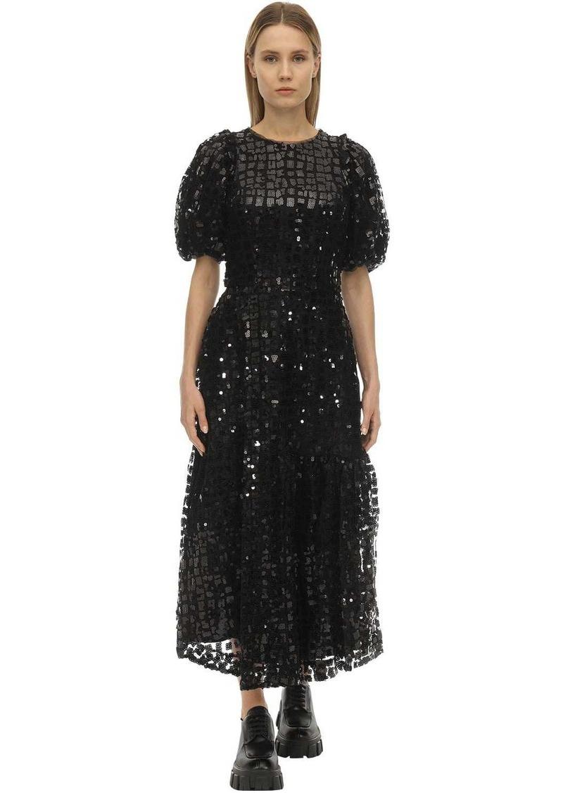 Simone Rocha Grid Sequin Embellished Midi Dress
