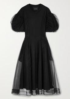 Simone Rocha Layered Tulle And Supima Cotton-jersey Midi Dress
