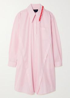 Simone Rocha Oversized Bead-embellished Striped Cotton-poplin Shirt Dress