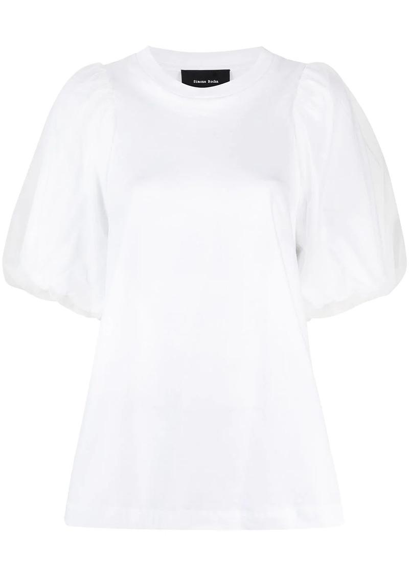 puff-sleeve crew-neck T-shirt
