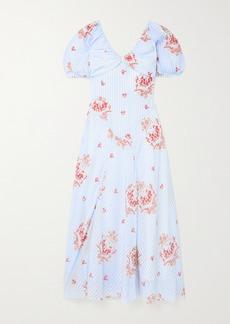 Simone Rocha Ruched Printed Silk Maxi Dress