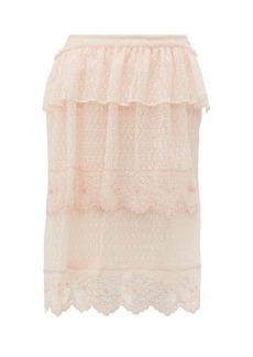 Simone Rocha Asymmetric embroidered lace midi skirt