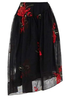 Simone Rocha Asymmetric floral-embroidered tulle skirt
